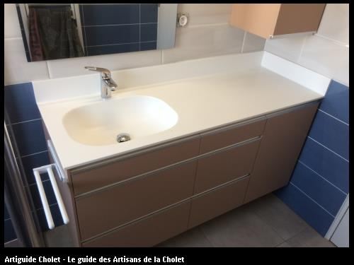 Plan vasque et remonté avec congé Solid Surface de chez porcelanosa Krion blanc AUCUN JOINT